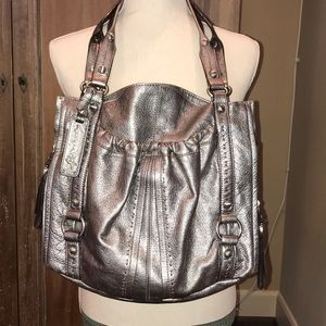 B. Makowsky silver/pewter metallic shoulder bag